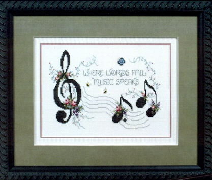 a counted cross stitch chart in this booklet for music lovers suitable for framing